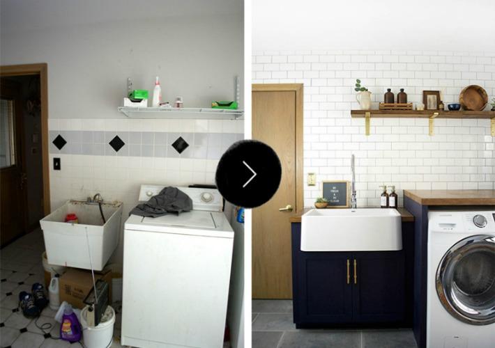 Antes y después de un cuarto de lavado multiusos
