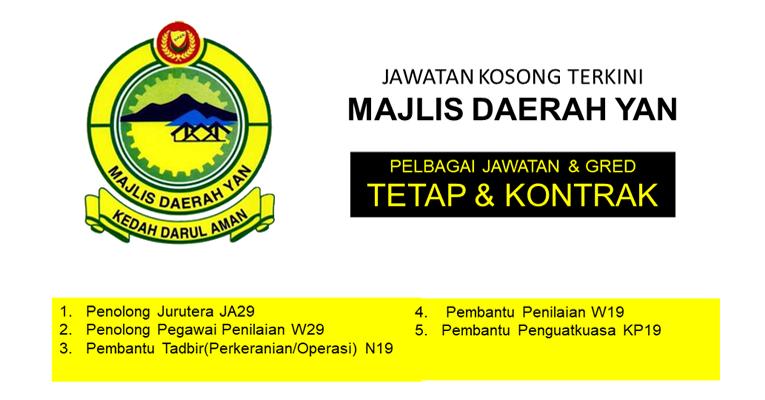 Jawatan Kosong di Majlis Daerah Yan - Tetap / Kontrak