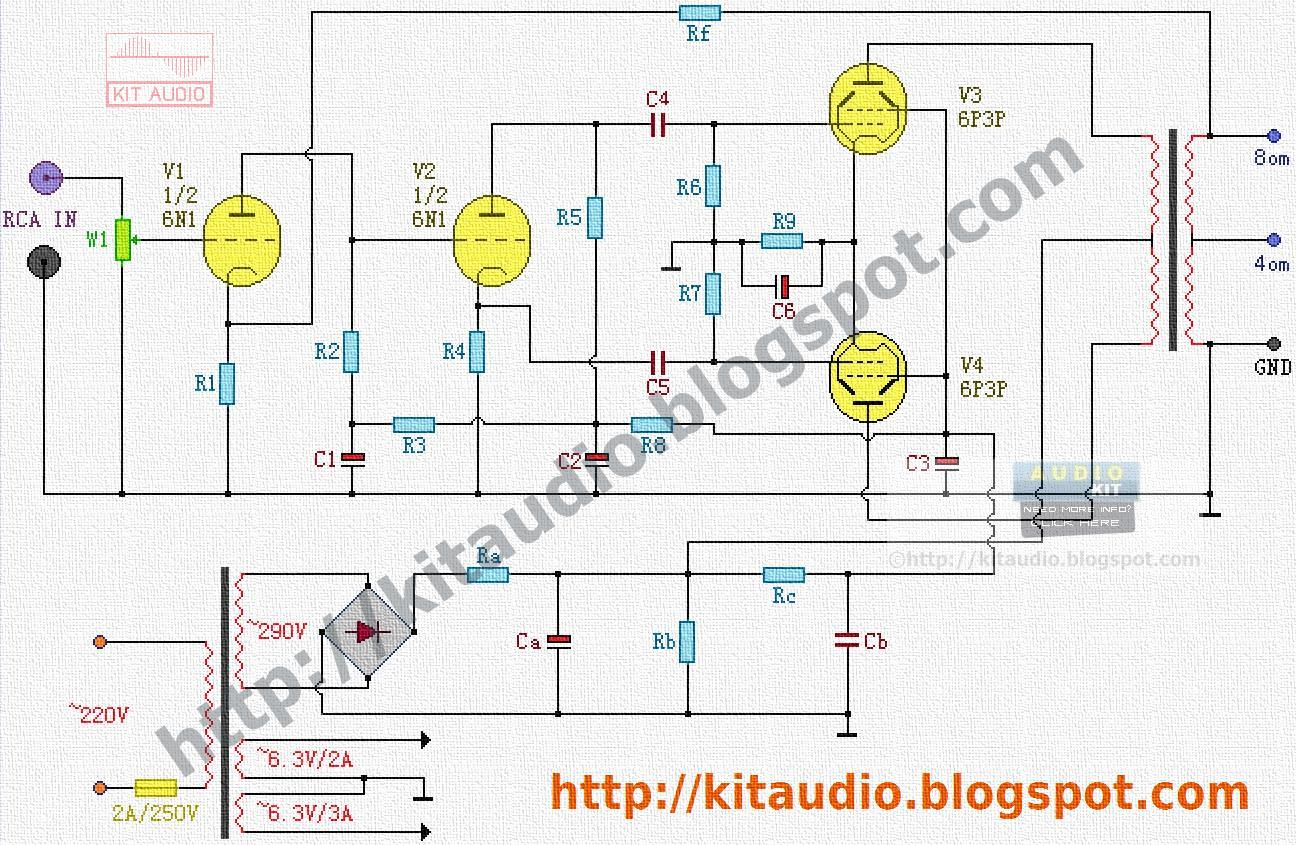 30 Watt Audio Amplifier Schematic Electrical Wiring Diagrams 30w Bridge Circuit Based Tda2040 Kit Circuits With Tubes 6n1 6p3p Power