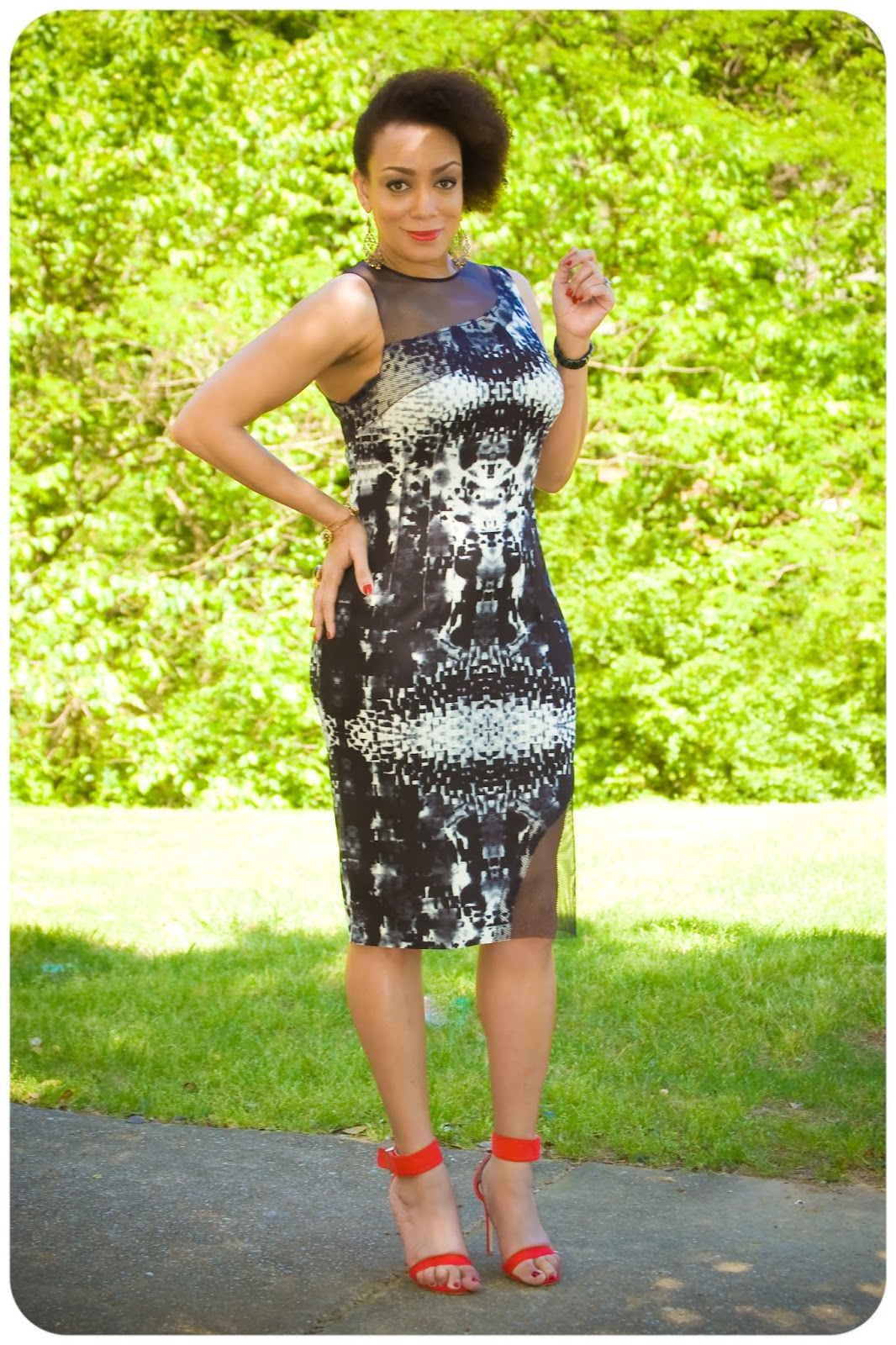 McCall's Pattern 7085 - Neoprene & Mesh Sheath Dress - Erica B.'s DIY Style!  All fabric from Mood Fabrics.com