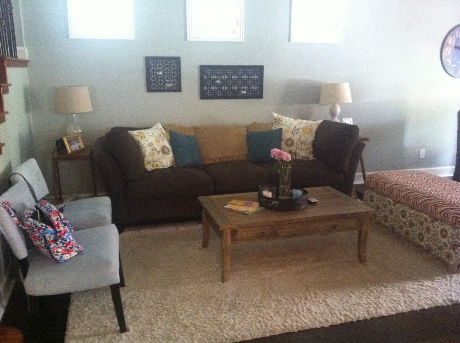 Yellow Teal and Brown Living Room