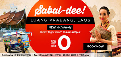 AirAsia Free Ticket Zero Fares Flight Promotion KL Laos Luang Prabang