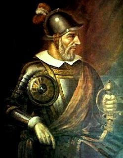 Diego de  Almagro con bigote y barba