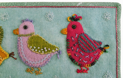 Robin Atkins, chicks, wool applique, bead and thread embroidery, binding