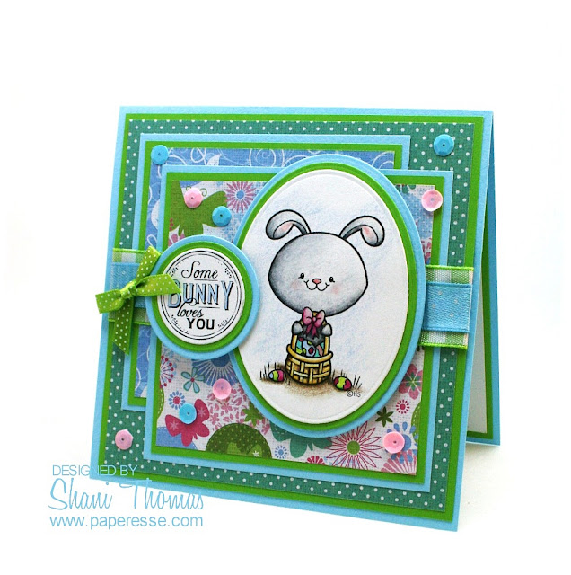 Easter card with 2 Cute Ink Easter Bunny Basket digital stamp, design by Paperesse.