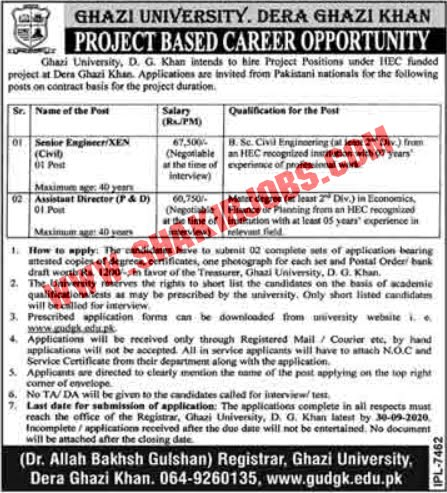Jobs in Ghazi University Jobs September 2020
