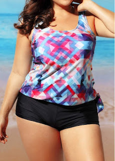 Plus Size Round Neck Swimwear Top and Shorts Swimwear