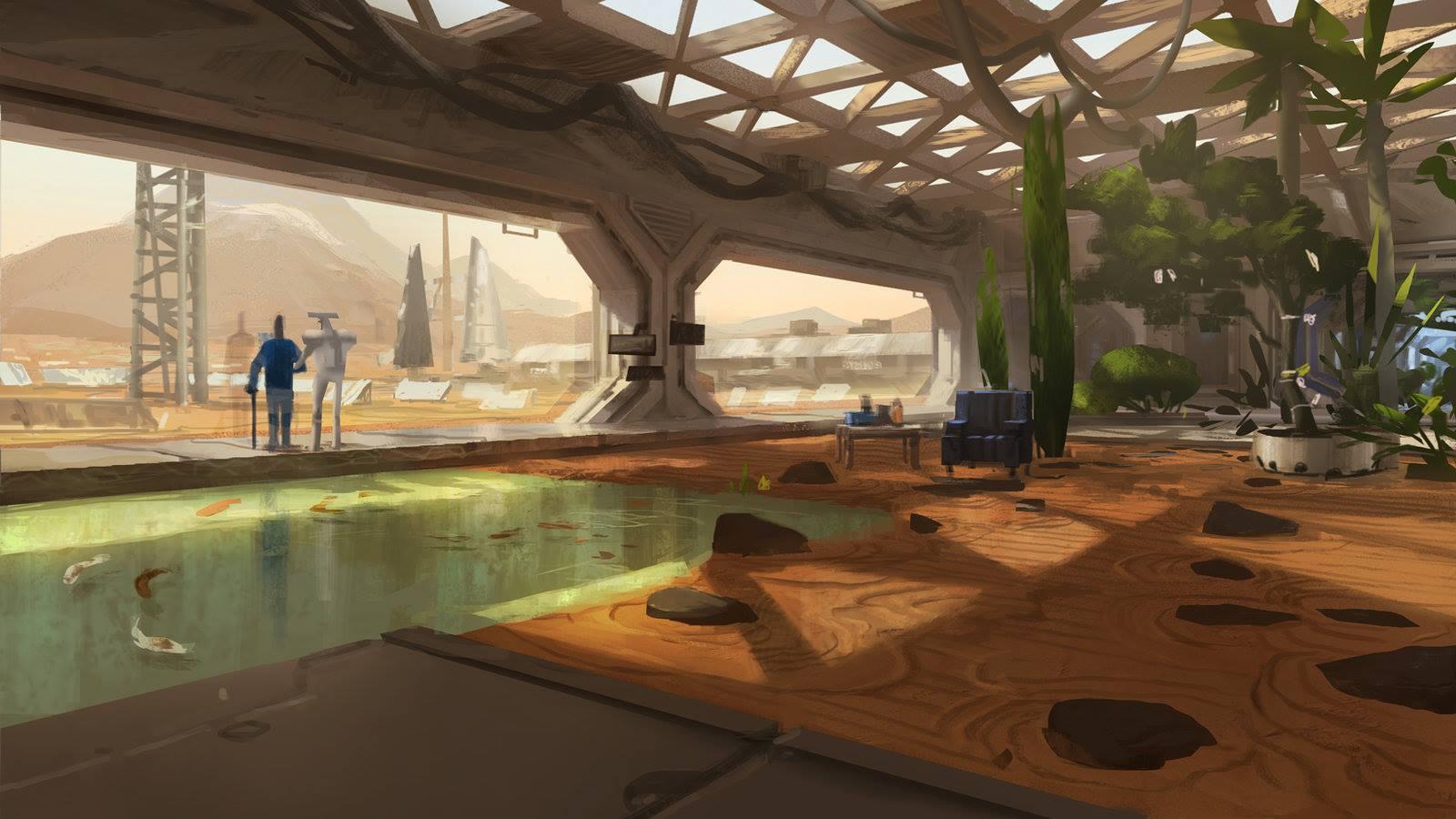 human Mars Mars station garden by Aka Kuro
