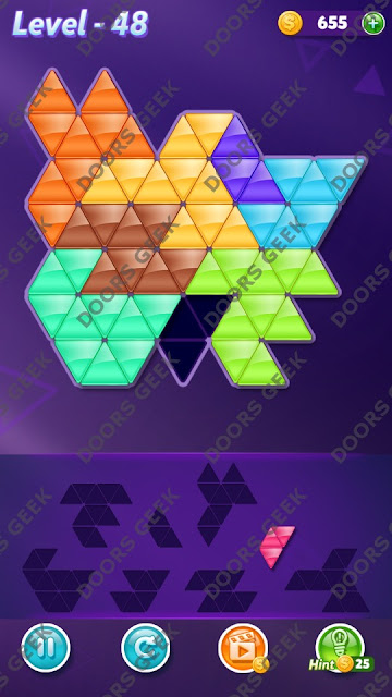 Block! Triangle Puzzle 8 Mania Level 48 Solution, Cheats, Walkthrough for Android, iPhone, iPad and iPod