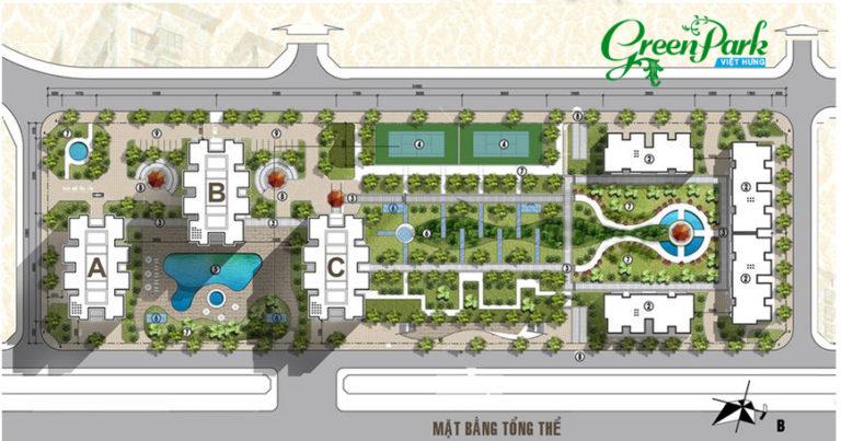 Mặt bằng tổng thể dự án Việt Hưng Green Park