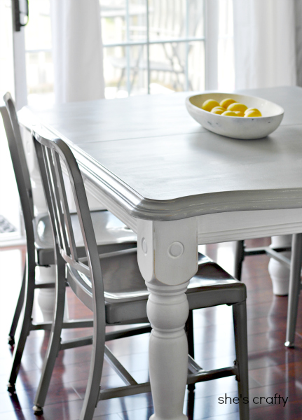 paint, table, gray table with white legs