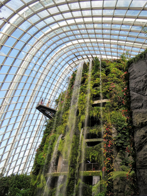Cloud forest and waterfall at the Gardens by the Bay in Singapore