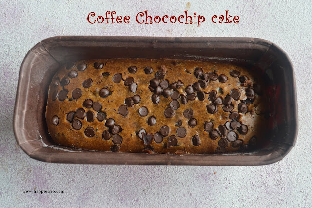 Eggless Coffee Chocochip cake | Coffee Chocolate Chips Cake