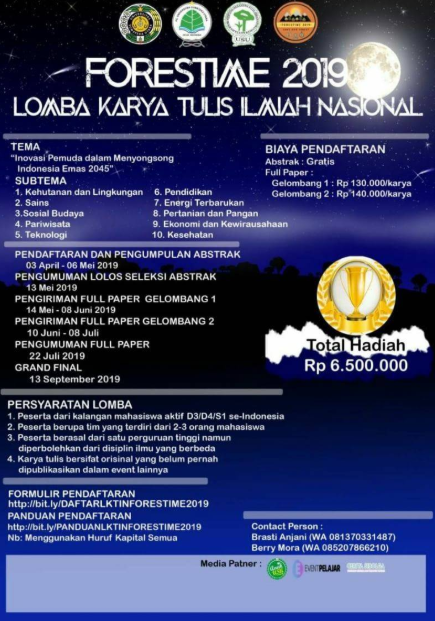 Lomba Karya Tulis Ilmiah Nasional FORESTIME 2019