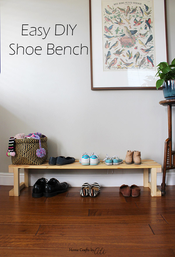 easy diy shoe bench on display in home