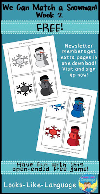 FREE open ended snowman matching game from Looks-Like-Language