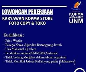 Lowongan Kerja KOPMA Store Foto Copy dan Toko