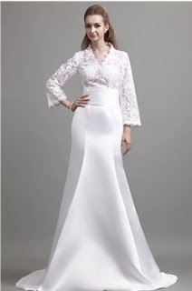 Delicate Trumpet Long-Sleeve Chapel Lace Trimmed Angerlika's Wedding Dress