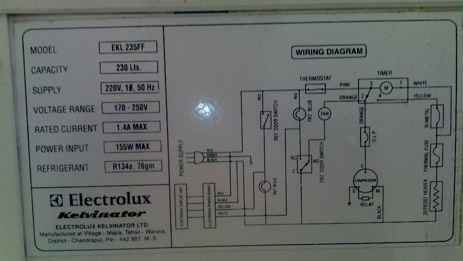 bejoy sathyaraj's tech blog: electrolux fridge freezer fan ... electrolux model e130a wiring diagram #14