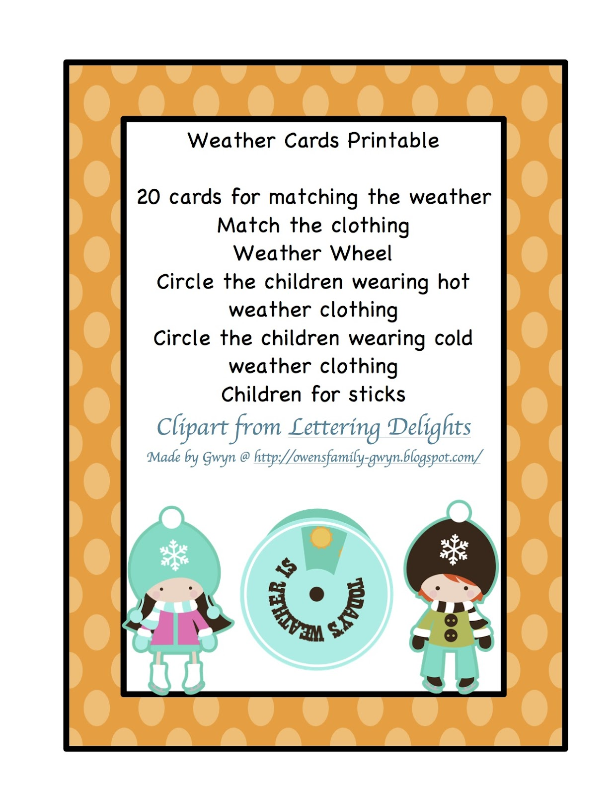 Weather Cards Printable