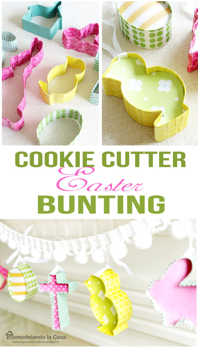 how to make a garland out of cookie cutters for Easter or Christmas or any holiday