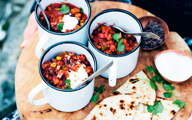 Bean chilli with chocolate and walnuts recipe