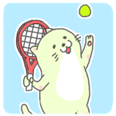 The fat cat plays tennis.