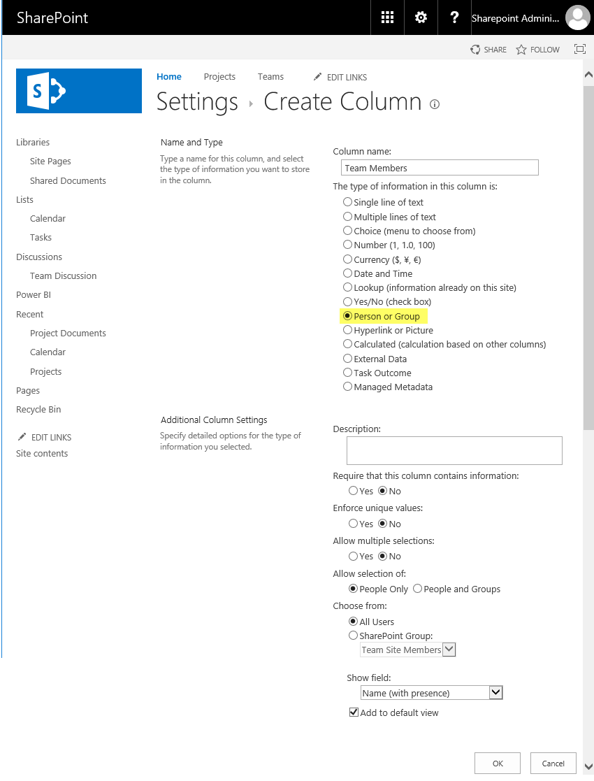 sharepoint online add person or group column to list using PowerShell