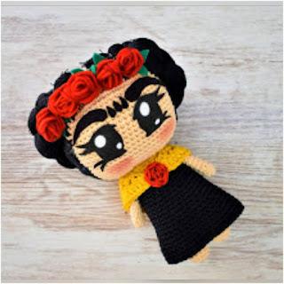 patron amigurumi Frida Kahlo patrigurumis