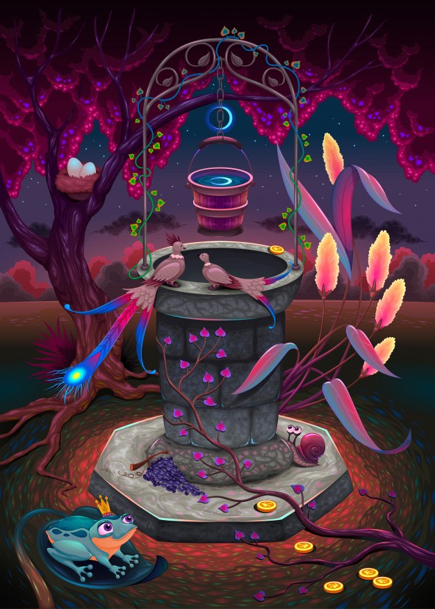 The wishing well in a magic garden Free Vector