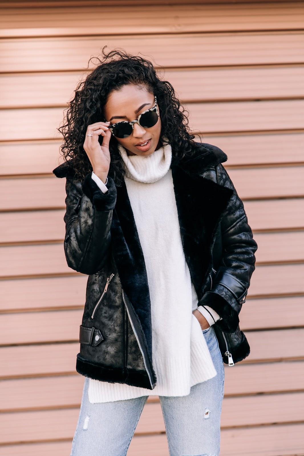 pancakestacker blog; #ootd; outfit; boohoo faux shearling aviator jacket; retro super future sunglasses; Levi's wedgie distressed denim; everlane day heel