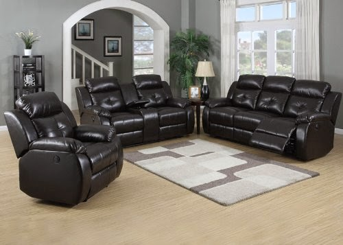 3pc Traditional Power Reclining Leather Sofa Set
