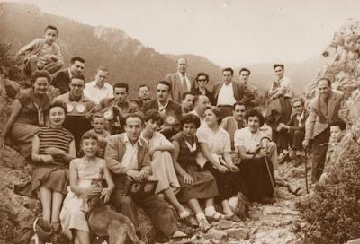 Los ajedrecistas General Soler, García Orús, Canut, Puig, Ribera, Ridameya, Matías de Llorens, Albareda, Vila-Sala, Barnola, Sánchez y Bas en 1956