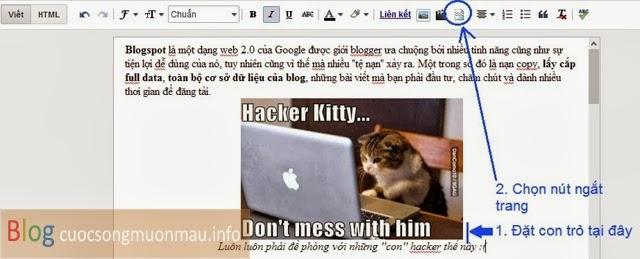 Cách thêm dấu ngắt dòng cho blogspot