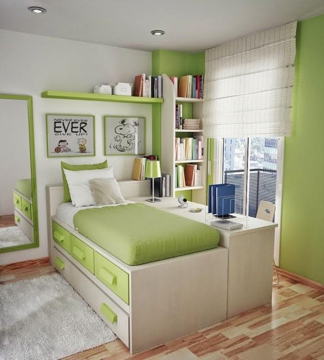 Habitacion juvenil de espacio peque o dormitorios - Colores para dormitorios pequenos ...