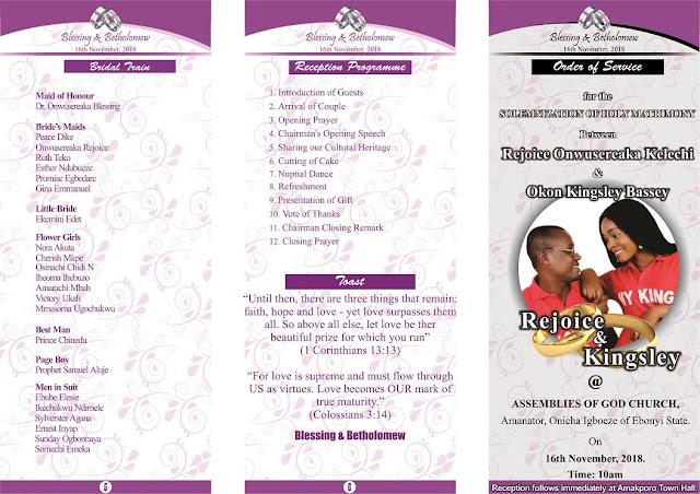 Wedding Program Design  - CorelDraw X7 -  KingspetDesigns