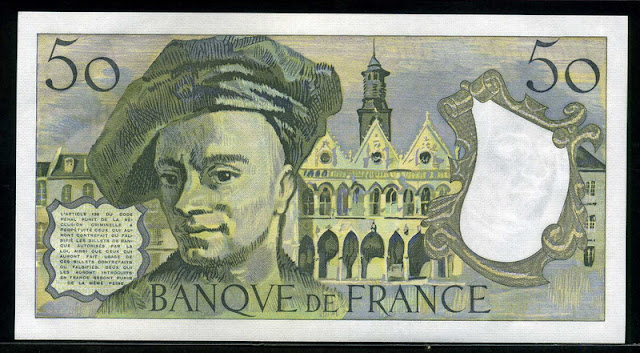 France currency 50 French Francs banknotes paper money bill