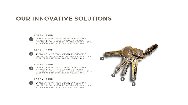 Innovative Solutions of 4 Keys Infographics Free PowerPoint Template with No Background Color