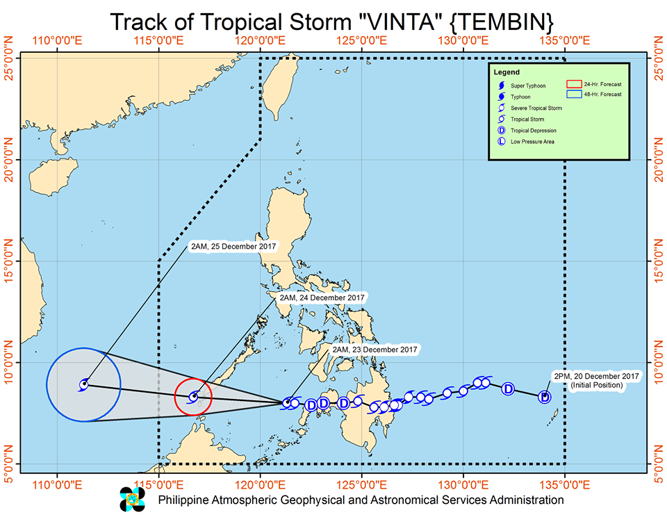 track of tropical storm Vinta