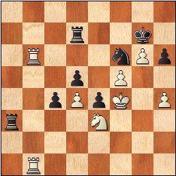 Partida de ajedrez O'Kelly - Francino, posición después de 52.Rf4!!