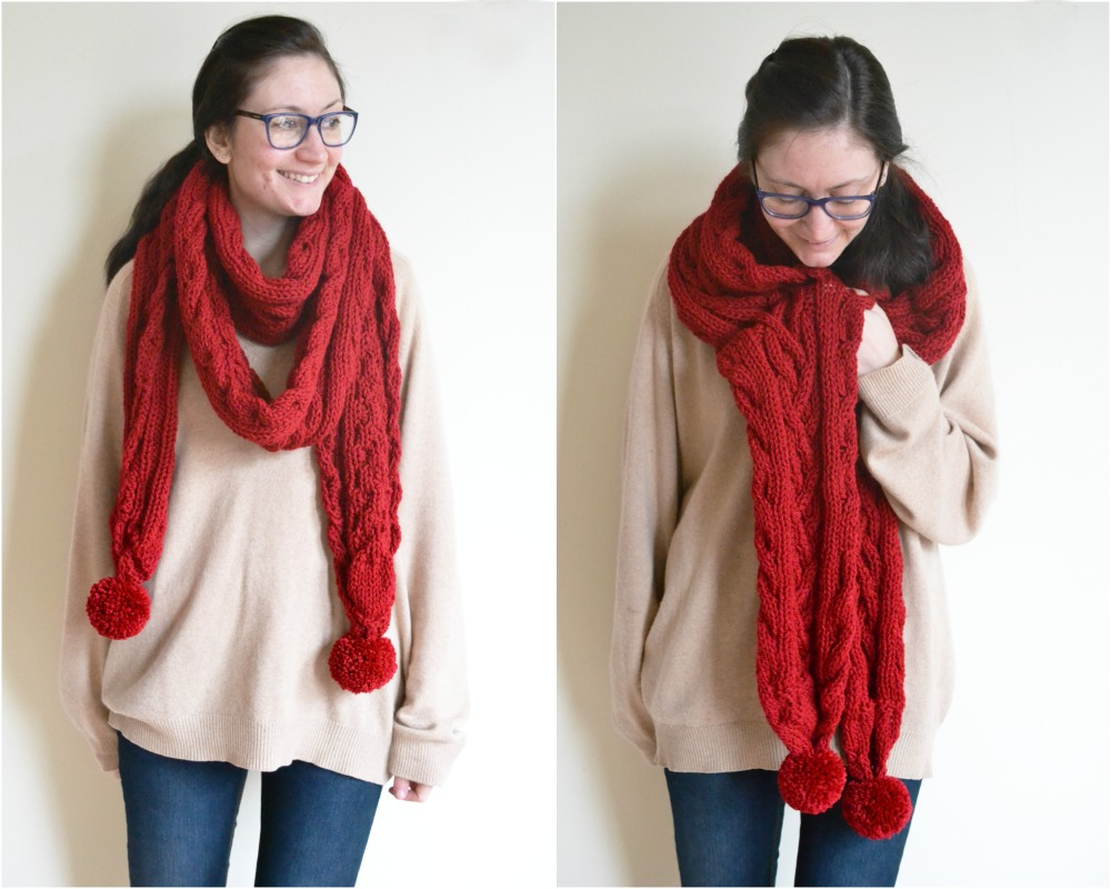 chorley wrap rowan knitted cable scarf red pompoms chunky