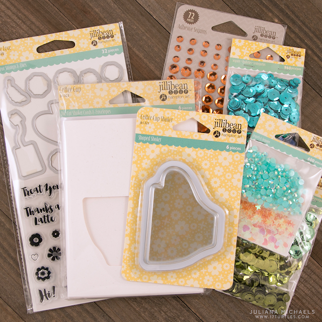 Jillibean Soup Coffee Cup Shaker Card,  Latte Stamp and Die Set, Shaker Fillers, Sequins