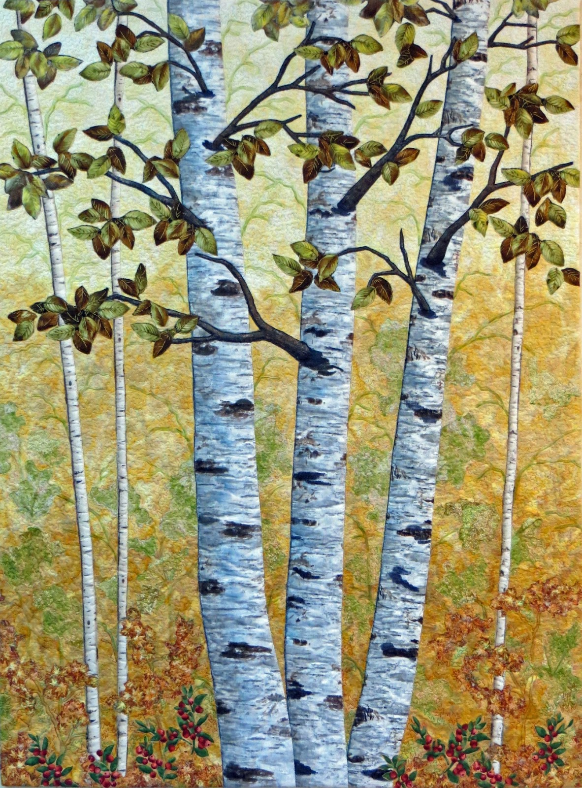 Cathy Geier S Quilty Art Blog Golden Birches And Faced