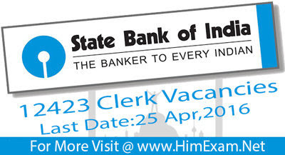 12423 Clerk Vacancy SBI Recruitment 2016