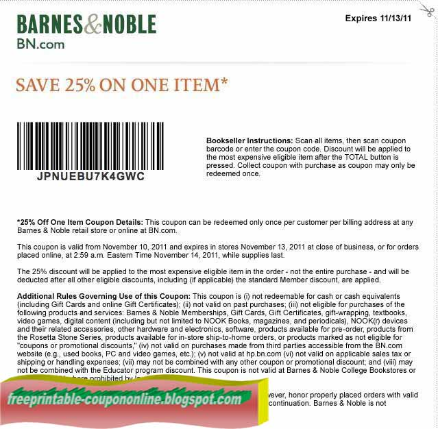 Barnes and noble coupons for online orders