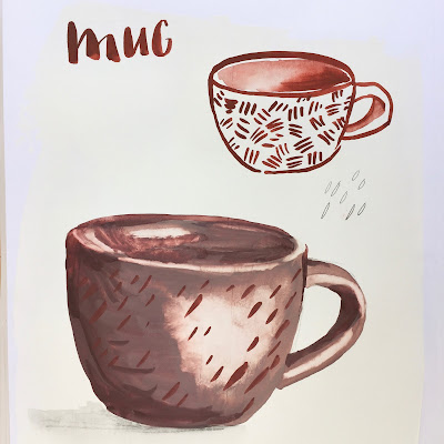 Daily Art 09-28-17 gouache mug illustrations on gesso