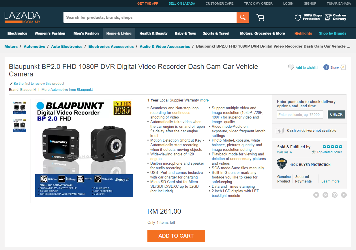 Blaupunkt BP2.0 FHD 1080P DVR Digital Video Recorder Dash Cam Car Vehicle Camera