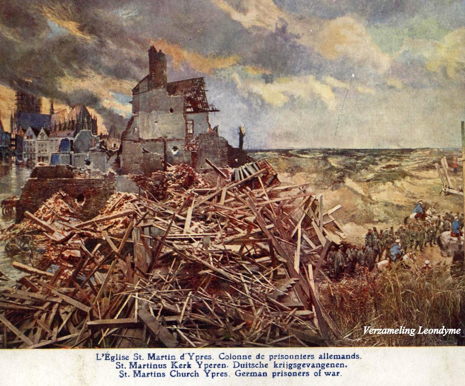 Slag aan de  IJzer door Alfred Bastien.  Ieperse St.-Martinuskerk en Duitse krijgsgevangenen. Verzameling Leondyme