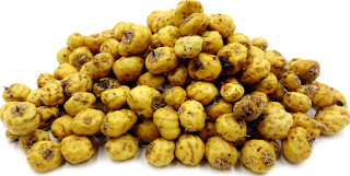"Tigernut (cyperus esculentus) is a perenial grass-like plant with edible tubers and pale yellow cream kernel surrounded with fibrous sheath. It is also known as earth almonds, yellow nut sedge, tigernut sedge, ""ataadwe"" in Ghana, ""kunnu aya"" or ""aku hausa"" in Nigeria, ""horchata de chef"" in Spain, ""souchet"" in French and ""ermandeln"" in Germany. Tigernuts are one of the earliest recorded plant that was cultivated in the ancient Egypt and have been there for up to 4000 years. There are three different varieties of Tigernuts, the black, brown and yellow varieties."