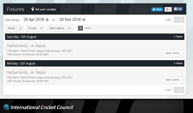 ICC Announced next fixtures of nepal
